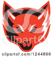 Clipart Of A Retro Red Fox Face Royalty Free Vector Illustration by patrimonio