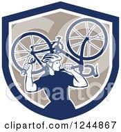 Retro Male Cyclist Repair Man Holdig Up A Bike In A Shield