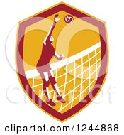 Clipart Of A Female Volleyball Player Spiking A Ball In A Shield Royalty Free Vector Illustration by patrimonio