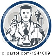 Clipart Of A Retro Scientist Working With Lab Equipment In A Circle Royalty Free Vector Illustration