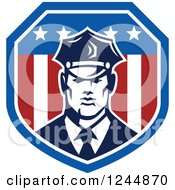 Clipart Of A Security Guard In An American Flag Shield Royalty Free Vector Illustration
