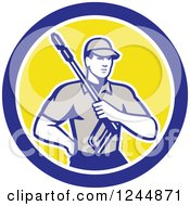 Clipart Of A Retro Pressure Washer Worker In A Circle Royalty Free Vector Illustration by patrimonio
