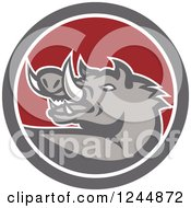 Clipart Of A Retro Wild Boar Pig In A Circle Royalty Free Vector Illustration by patrimonio