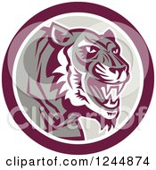 Clipart Of A Retro Growling Tiger In A Circle Royalty Free Vector Illustration