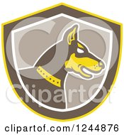 Clipart Of A Retro Doberman Pinscher Dog In Profile In A Shield Royalty Free Vector Illustration by patrimonio