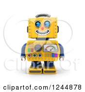 Clipart Of A 3d Grinning Yellow Robot Glancing To The Left Royalty Free Illustration