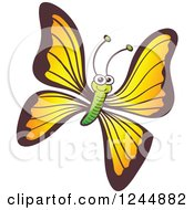 Clipart Of A Happy Smiling Yellow And Green Butterfly Royalty Free Vector Illustration by Zooco