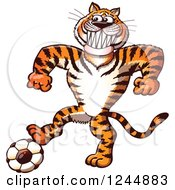 Clipart Of A Sporty Tiger Playing Soccer Football Royalty Free Vector Illustration by Zooco