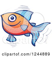 Clipart Of A Happy Jumping Blue And Orange Fish Royalty Free Vector Illustration by Zooco