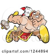 Clipart Of A Native American Indian Brave Running With A Weapon Royalty Free Vector Illustration