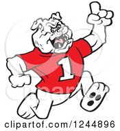 Clipart Of A Running Victorious Bulldog Royalty Free Vector Illustration