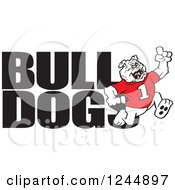 Clipart Of Text And A Running Victorious Bulldog Royalty Free Vector Illustration by Johnny Sajem
