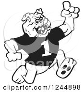 Clipart Of A Black And White Running Victorious Bulldog Royalty Free Vector Illustration