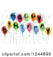 Clipart Of 3d Colorful Party Balloons And Confetti With Happy Birthday Text Royalty Free Vector Illustration