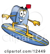 Poster, Art Print Of Blue Postal Mailbox Cartoon Character Surfing On A Blue And Yellow Surfboard