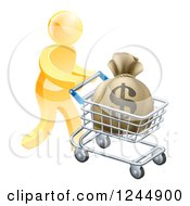 Clipart Of A 3d Gold Man Pushing A Money Bag In A Shopping Cart Royalty Free Vector Illustration