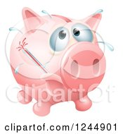 Clipart Of A Sick Piggy Bank With A Fever And Bursting Thermometer Royalty Free Vector Illustration