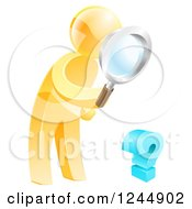 Clipart Of A 3d Gold Man Searching For Answers With A Magnifying Glass Royalty Free Vector Illustration