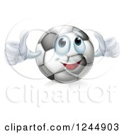 Clipart Of A Soccer Ball Character Giving Two Thumbs Up Royalty Free Vector Illustration by AtStockIllustration