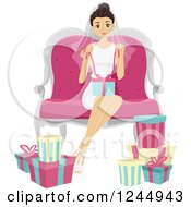 Clipart Of A Young Lady Opening Gifts At A Bridal Shower Royalty Free Vector Illustration by BNP Design Studio