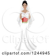 Clipart Of A Beautiful Black Bride Holding A Bouquet Royalty Free Vector Illustration by BNP Design Studio