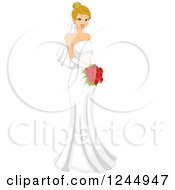 Clipart Of A Beautiful Blond Bride Holding A Red Bouquet Royalty Free Vector Illustration