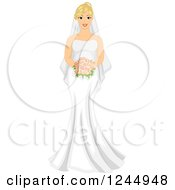 Clipart Of A Beautiful Pudgy Blond Bride Holding A Red Bouquet Royalty Free Vector Illustration