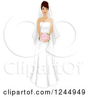 Clipart Of A Beautiful Hispanic Bride Holding A Red Bouquet Royalty Free Vector Illustration by BNP Design Studio