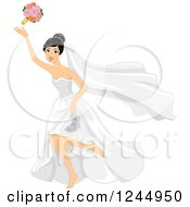 Clipart Of A Bride Running Barefoot And Throwing Her Bouquet Royalty Free Vector Illustration