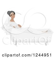 Clipart Of A Beautiful Black Bride Sitting In An Empty Bath Tub Royalty Free Vector Illustration
