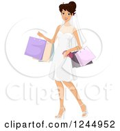 Clipart Of A Happy Bride Carrying Shopping Bags Royalty Free Vector Illustration