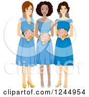 Clipart Of Diverse Bridesmaids In Blue Dresses Royalty Free Vector Illustration by BNP Design Studio