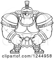 Clipart Of A Black And White Mad Brute Muscular Centurion Grinning Royalty Free Vector Illustration by Cory Thoman