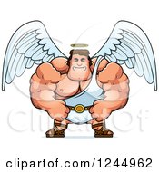 Clipart Of A Mad Brute Muscular Male Angel Royalty Free Vector Illustration