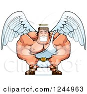 Clipart Of A Brute Muscular Male Angel Grinning Royalty Free Vector Illustration