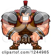 Clipart Of A Brute Muscular Centurion Grinning Royalty Free Vector Illustration by Cory Thoman