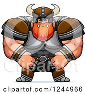 Clipart Of A Mad Brute Muscular Viking Royalty Free Vector Illustration