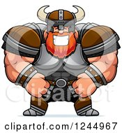 Clipart Of A Brute Muscular Viking Grinning Royalty Free Vector Illustration