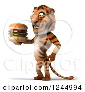 Clipart Of A 3d Tiger Holding A Double Cheeseburger Royalty Free Illustration