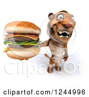 Clipart Of A 3d Tiger Holding Up A Double Cheeseburger Royalty Free Illustration