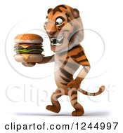 Clipart Of A 3d Tiger Walking With A Double Cheeseburger Royalty Free Illustration