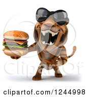 Clipart Of A 3d Tiger Wearing Sunglasses And Pointing To A Double Cheeseburger Royalty Free Illustration