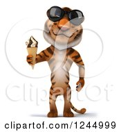 Clipart Of A 3d Tiger Wearing Sunglasses And Holding An Ice Cream Cone Royalty Free Illustration