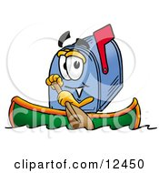 Clipart Picture Of A Blue Postal Mailbox Cartoon Character Rowing A Boat