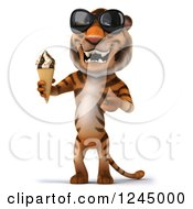 Clipart Of A 3d Tiger Wearing Sunglasses And Presenting An Ice Cream Cone Royalty Free Illustration