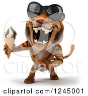 Clipart Of A 3d Tiger Wearing Sunglasses Roaring And Holding An Ice Cream Cone Royalty Free Illustration