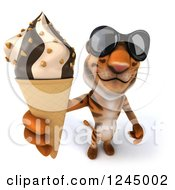 Clipart Of A 3d Tiger Wearing Sunglasses And Holding Up An Ice Cream Cone Royalty Free Illustration