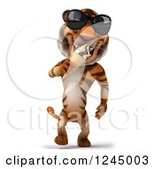 Clipart Of A 3d Tiger Wearing Sunglasses And Eating An Ice Cream Cone Royalty Free Illustration