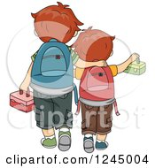 Rear View Of Brothers Walking To School