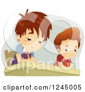 Clipart Of A Caucasian Boy Peeking To Copy His Classmates Answers Royalty Free Vector Illustration